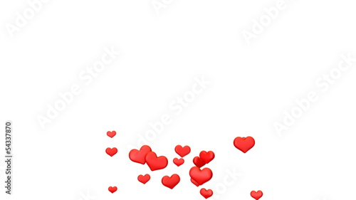 flying hearts in different sizes, alpha channel included