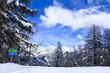 Ski slope signs in Alps