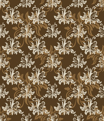 Seamless brown floral vector retro pattern.