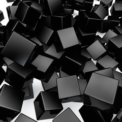 Falling 3D black rounded cubes background.