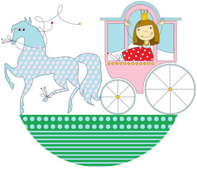 princess in a pink carriage