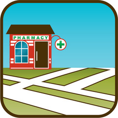 Icon of pharmacy with street map