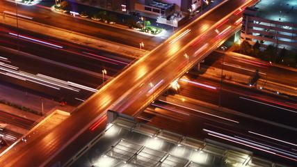 traffic at night, time lapse