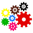 collection of colored mechanisms on a white background