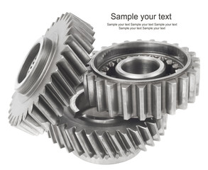 real stainless steel gears isolated over white background