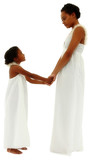 Beautiful black mother daughter portrait holding hands face to f
