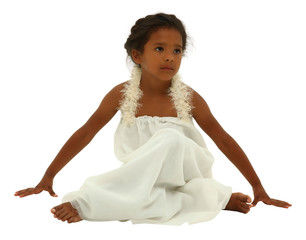 Beautiful black girl child in white angel dress with clipping pa