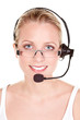 young woman with glasses and headset