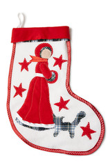 Christmas sock with a snow white