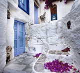 The narrow streets of the Greek islands.Milos,Greece.