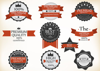 Premium Quality and Guarantee Labels with retro vintage design
