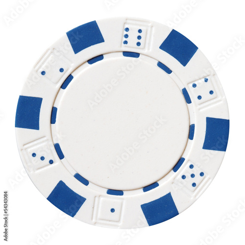 white poker chip isolated