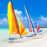 Colorful catamarans at a beach in Cuba