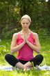 Young Blonde Woman Practicing Yoga In Park