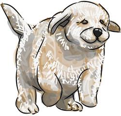 welpe gemalt hund