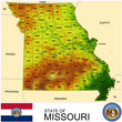 Missouri USA counties name location map background