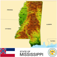 Mississippi USA counties name location map background