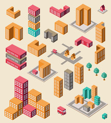 Isometric set of elements for infographic on yellow