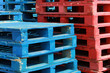 Colorful stacks of crate pallets