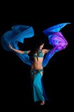 Bellydancer with Flowing Blue Veil