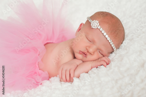 Newborn Baby Girl in Pink Tutu
