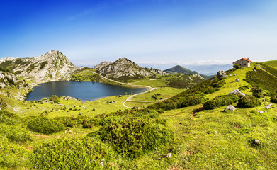 Lake Enol, lakes of Covadonga, Asturias, Spain