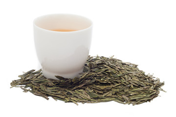 A cup of green tea on white background