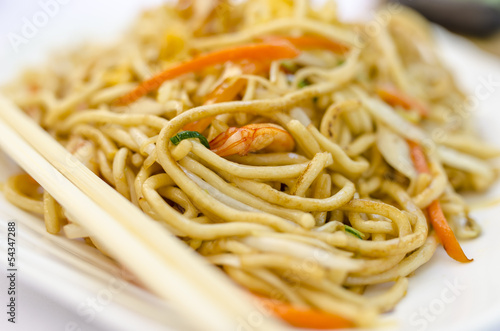 Closeup of asian fried noodles