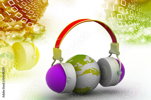 Headphone and globe on digital background