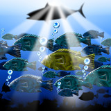 Sea Abyss Stylized Fish Background
