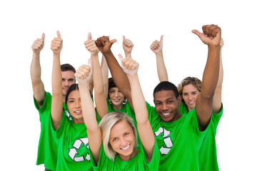 Cheerful group of environmental giving thumbs up