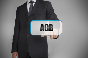 Businessman selecting tag with agb written on it
