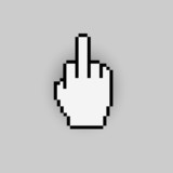 Pixelated gesture hand like - negative icon