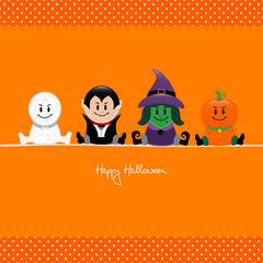 Halloween Mummy, Vampire, Witch & Pumpkin Orange Dots