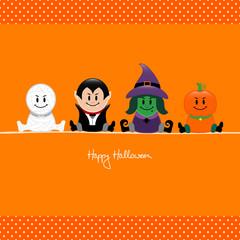 Halloween Mummy, Vampire, Witch & Pumpkin Orange Dots