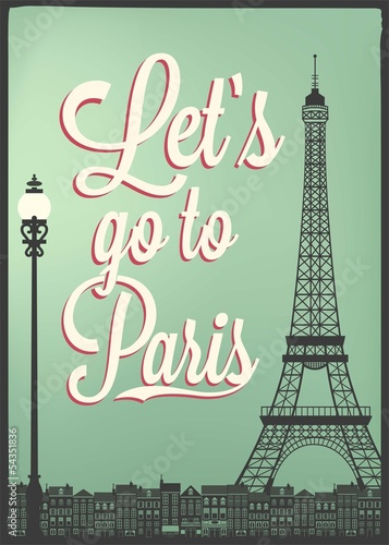 Typographical Retro Poster With Paris Landmarks