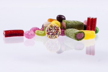 White background - fruit candies