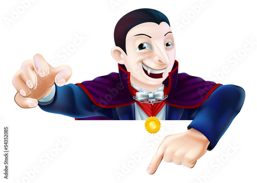 Halloween Cartoon Dracula Pointing