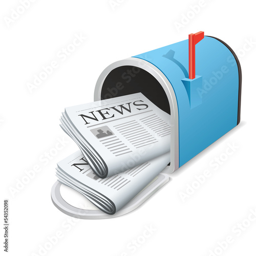 Beautiful blue metallic opened mailbox. Vector icon. Daily news