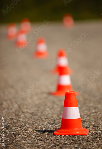 orange cones on street