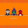 Halloween Vampire, Witch & Devil Orange Dots