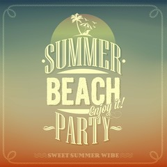Summer Beach Party Typography Background For Summer