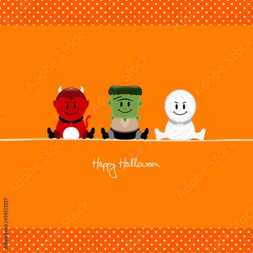 Halloween Devil, Frankenstein´s Monster & Mummy Orange Dots