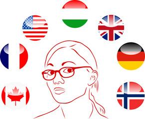 kobieta i flagi