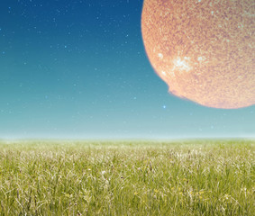Landscape with sun. Elements of this image furnished by NASA.
