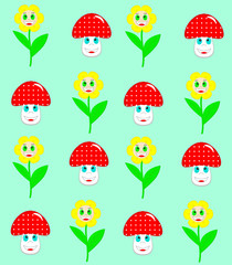 Beautiful flowers and mushrooms seamless pattern