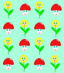 Beautiful flowers and mushrooms seamless pattern