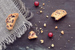 Cranberry biscotti on wooden background