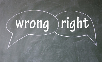 wrong and right chat sign