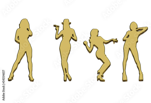 Collection of 3D Gold Silhouettes